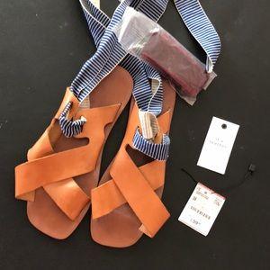 Zara flat sandals with leg ties